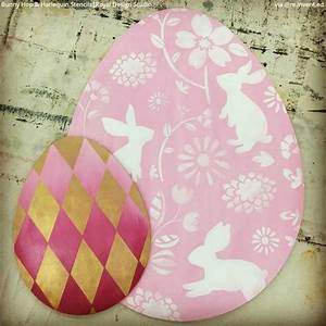 Colorful Bunny Flower Wallpaper Wall Stencils for DIY
