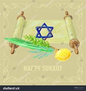 Happy Sukkot Four Symbols And Torah Of Jewish Holiday ...