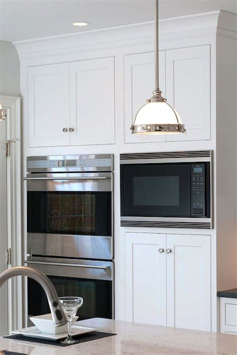 microwave nook traditional kitchen mullet cabinets