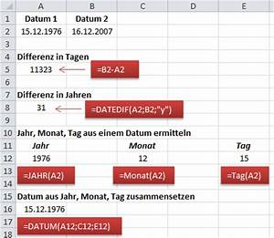 Excel Alter Berechnen Aus Geburtsdatum : excel rechnen mit datum und uhrzeit ~ Themetempest.com Abrechnung