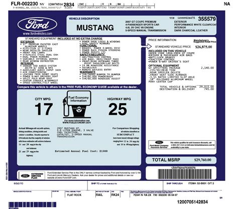 create  electronic window sticker    mustang