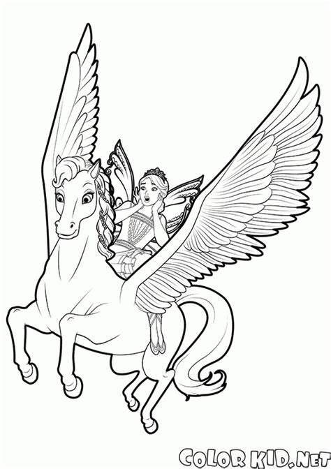coloring page fairy  pegasus