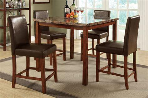 marble top kitchen table dining set leather upholstered chairs counter height ebay