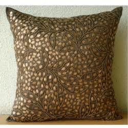 """Brown Throw Pillows Cover For Couch, Square Sequins & Beaded Leaf Design Tropical Theme 16""""x16"""" Silk Throw Pillows Cover - Gold Leaves"""
