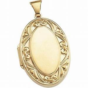 Solid 14k Yellow Gold Large Oval Locket 443pg64653