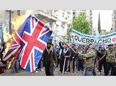 Argentines burn British flags to protest Falklands