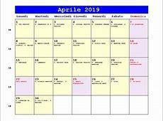 Calendario Aprile 2019 PDF Quaresima, Le Palme, data di