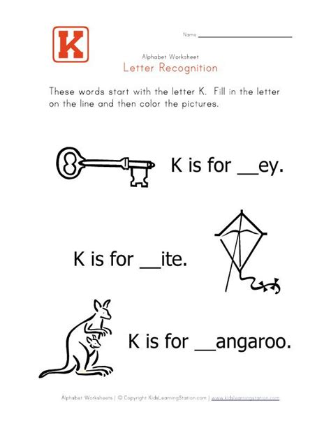 words that start with the letter k children s worksheets 332 | 88dea1652d97624a053456f5e16f6536 alphabet words kindergarten worksheets