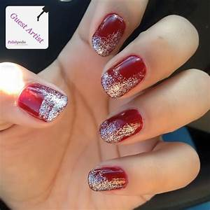 Red Nails With a Silver Glitter Ombre Effect | Polishpedia ...