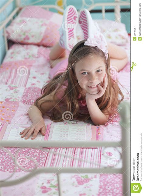 school girl reading stock photo image
