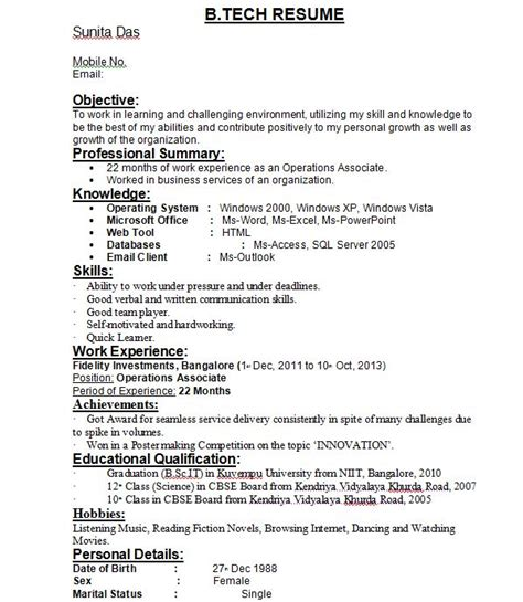 inspiration resume format freshers b tech ece in resume