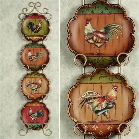 decorative plates  racks touch  class rooster kitchen decor rooster kitchen rooster decor