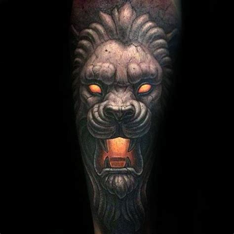 lion statue tattoo designs  men carved stone ink ideas