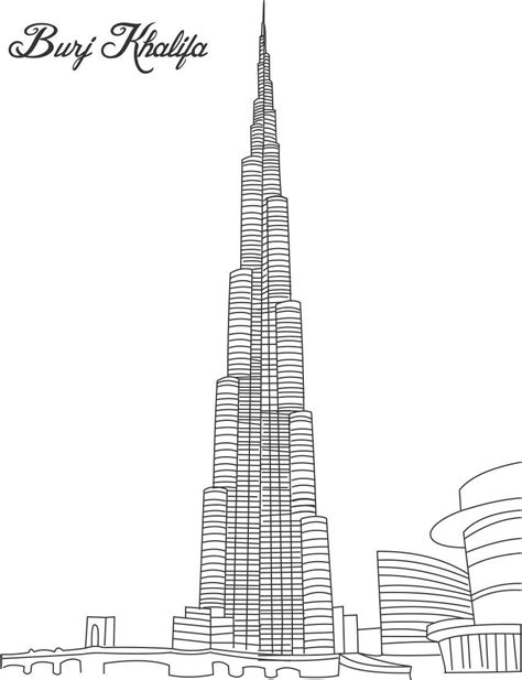 burj khalifa tower coloring page  printable coloring pages  kids