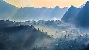 Mist, Sunrise, Nature, Village, Mountain, Sun, Rays