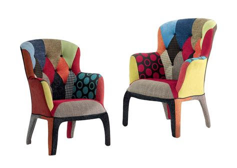 Poltroncina Moderna Patchwork In Tessuto Multicolore