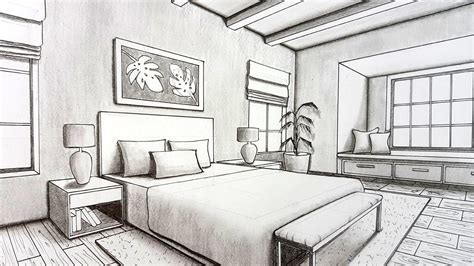 Drawing A Bedroom In Perspective by Drawing A Bedroom In Two Point Perspective Timelapse