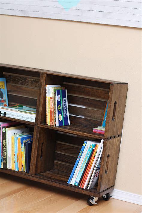 diy wood crate bookshelf sew  ado