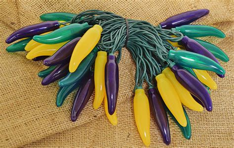 mardi gras green yellow purple chili pepper string lights