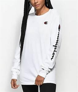 Champion Script White Long Sleeve T-Shirt | Zumiez
