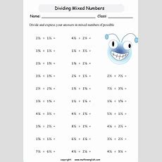 Divide Mixed Numbers By Mixed Numbers Math Worksheet Grade 6 Math Worksheet For In School Or