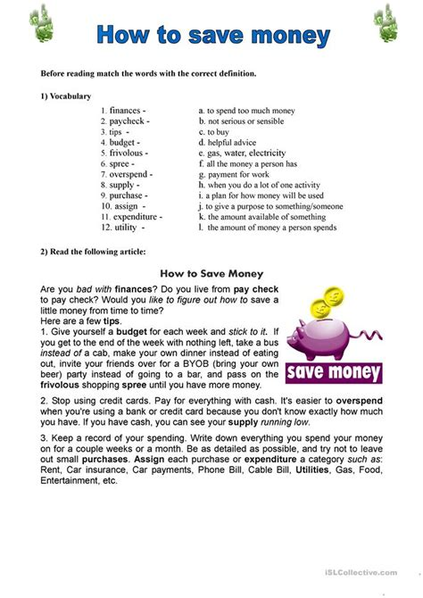 How To Save Money Worksheet  Free Esl Printable Worksheets Made By Teachers