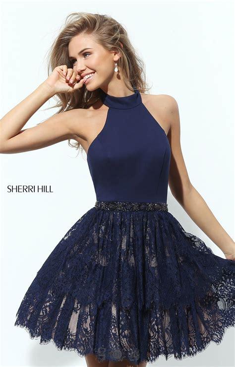 sherri hill  short neoprene halter layered lace