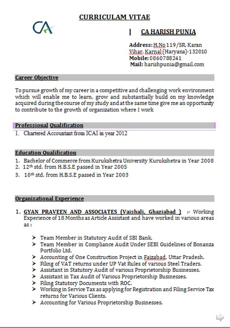 curriculum vitae format  freshers accountant
