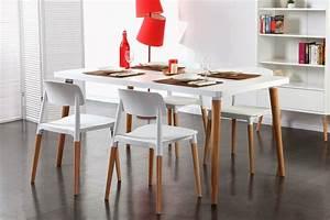 Salle a manger blanc laque pas cher for Meuble salle À manger avec chaise bois clair