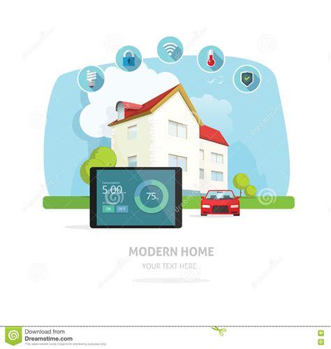 smart home modern future house vector illustration stock
