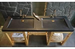 Double Vasque Noir : double vasque en pierre fole 39 ge shadow granit noir ~ Teatrodelosmanantiales.com Idées de Décoration