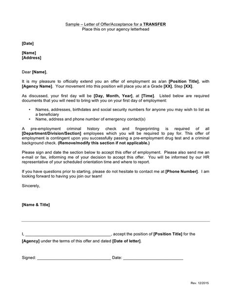 Acceptance Letter Sample - download free documents for PDF