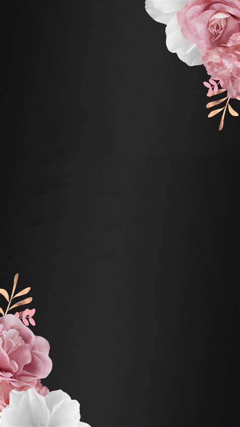 Flower Iphone Black Background Wallpaper by Black And Flowers Dress Your Tech Fondos De Pantalla