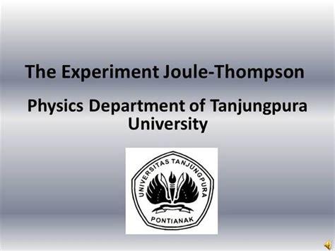 Eksperimen Joule Thompson Mipa Fisika Untan Pontianak