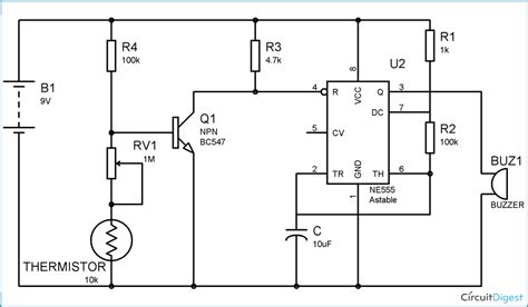 fire alarm circuit diagram  thermistor   timer ic