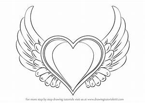 Easy Drawings Of Hearts With Wings Step By Step | www ...