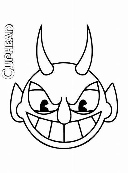 Devil Cuphead Head Coloring Fun Kleurplaat Malvorlage