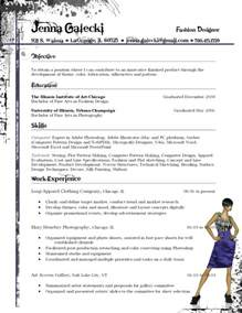 resume for fashion galecki fashion designer resume