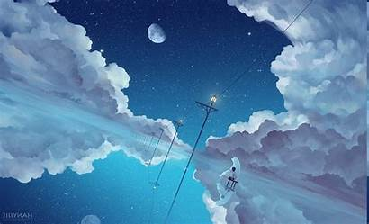 Sky Anime Wallpapers Desktop Backgrounds Clouds Cave