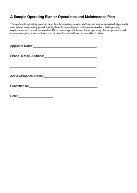sample operating plan  operations  maintenance plan