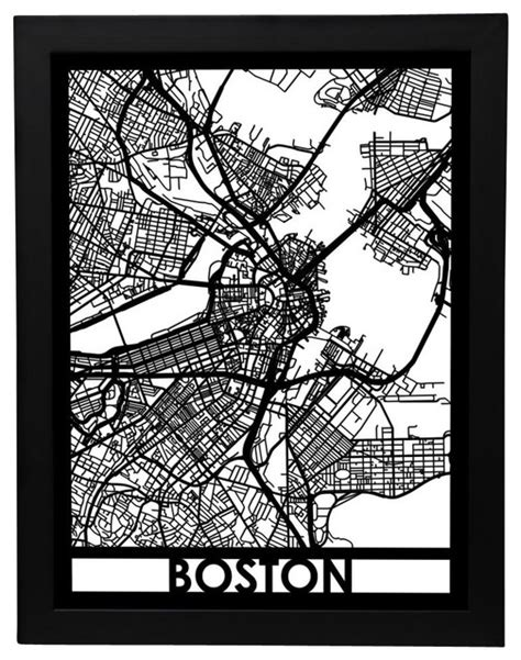 Boston Street Map - Contemporary - Prints And Posters - by