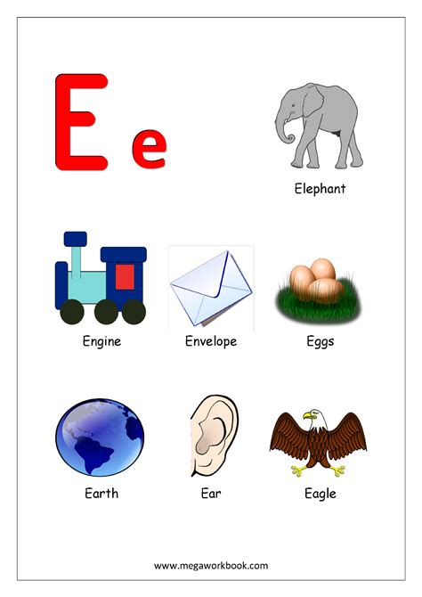 colors that start with e free printable alphabet reading pages things that start