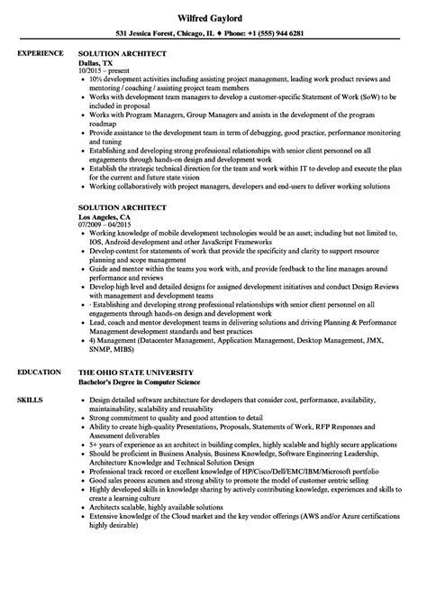 Sle Solution Architect Resume by Solution Architect Resume Sles Velvet