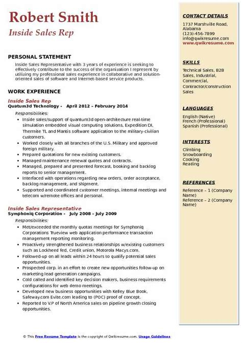 sales rep resume samples qwikresume