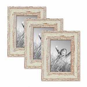 Bilderrahmen Vintage Set : 3er set vintage bilderrahmen 10x15 cm weiss shabby chic massivholz mit glasscheibe und zubeh r ~ Buech-reservation.com Haus und Dekorationen