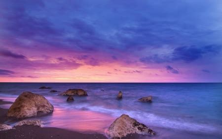 purple sunset beaches nature background wallpapers