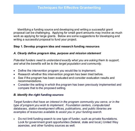 grant writing template   word   documents