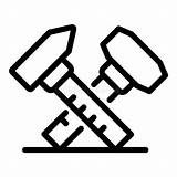 Caliper Icon Outline Simple Vernier Hammer Flat Stainless Symbol Steel sketch template