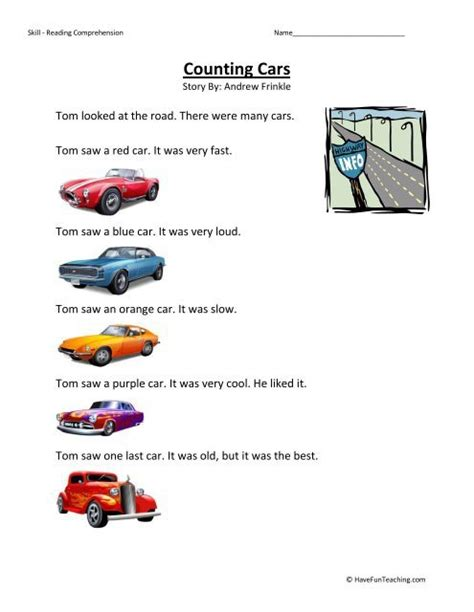counting cars worksheets worksheets