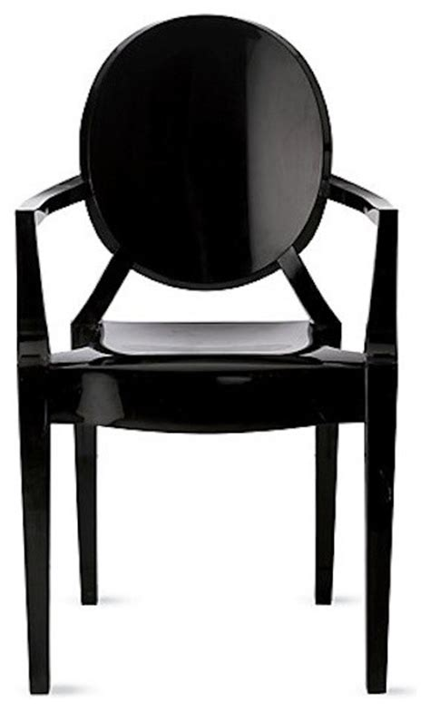 louis ghost chairs matte glossy black set of 2 modern